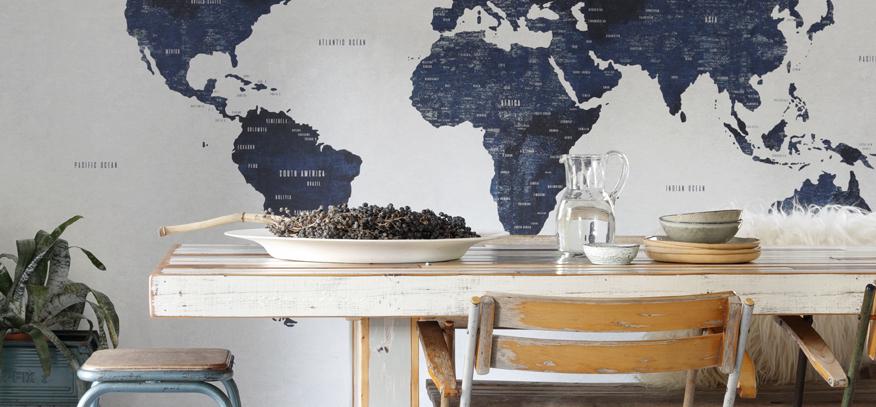 papier peint panoramique carte du monde