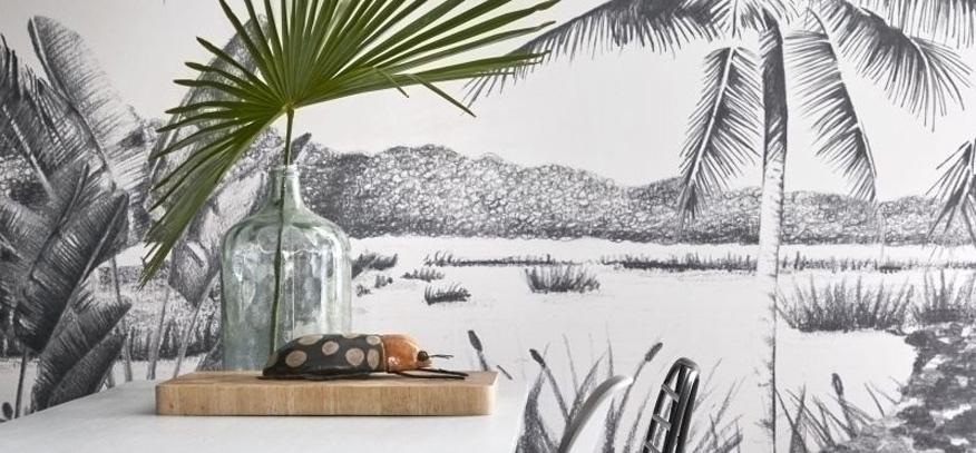 papier peint panoramique noir et blanc