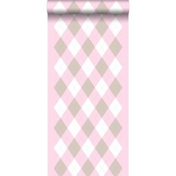 papier peint à carreaux rose doux de ESTA home