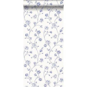 papier peint roses en Toile de Jouy bleu de ESTA home