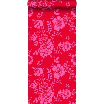 papier peint fleurs rouge et rose de ESTA home