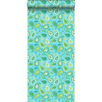 papier peint paisleys turquoise et vert citron de ESTA home