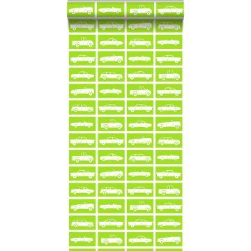 papier peint voitures vert citron de ESTA home