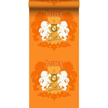 papier peint lions orange et blanc de ESTA home