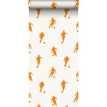 papier peint joueurs de football orange et blanc de ESTA home