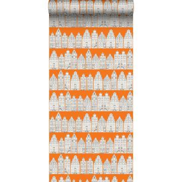 papier peint maisons bordant les canaux d'Amsterdam orange et blanc de ESTA home