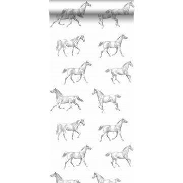 papier peint croquis de chevaux noir sur blanc de ESTA home