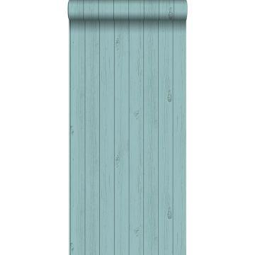 papier peint imitation bois vert turquoise de la mer grisé de ESTA home
