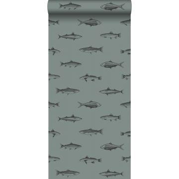 papier peint poissons vert grisé et noir de ESTA home