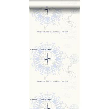 papier peint boussoles bleu clair de ESTA home