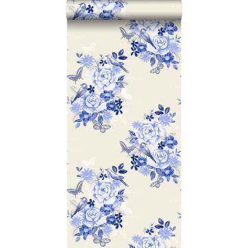 papier peint fleurs et oiseaux bleu indigo de ESTA home