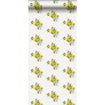papier peint broderie de petites roses jaune de ESTA home