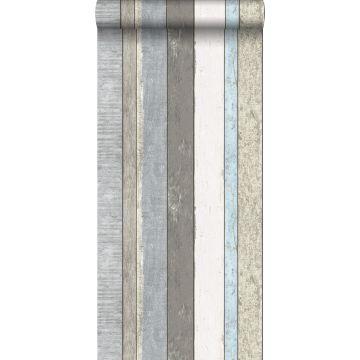 papier peint imitation bois gris et bleu clair de ESTA home