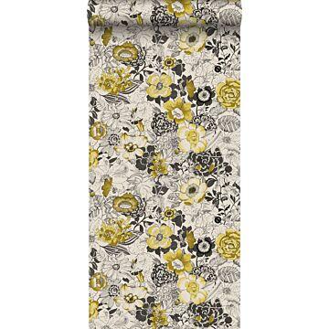 papier peint fleurs jaune ocre et beige de ESTA home