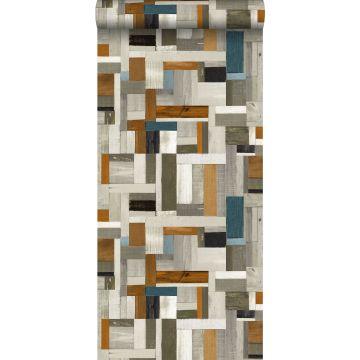 papier peint imitation bois gris, marron et bleu gris de ESTA home