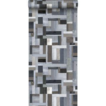 papier peint imitation bois bleu et gris de ESTA home