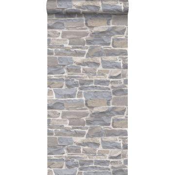 papier peint brique gris clair et beige de ESTA home