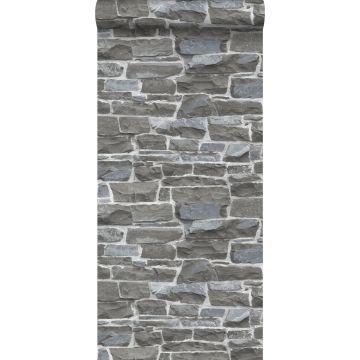papier peint brique gris foncé de ESTA home
