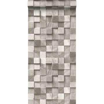 papier peint imitation bois en 3D taupe de ESTA home