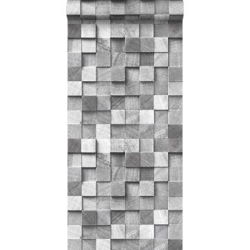 papier peint imitation bois en 3D gris de ESTA home