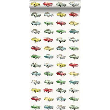 papier peint voitures anciennes vintage rouge, jaune et vert de ESTA home