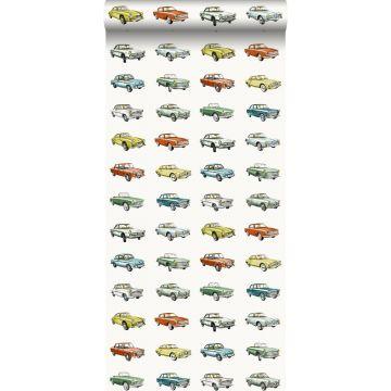 papier peint voitures anciennes vintage orange, jaune ocre et vert de ESTA home