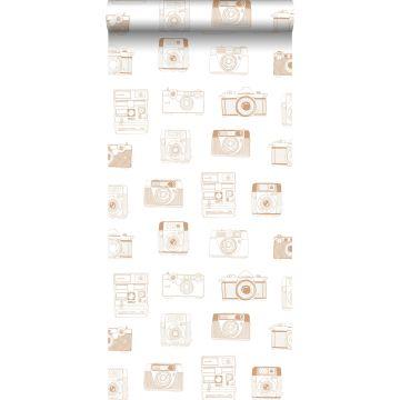 papier peint caméras Polaroid brun cuivré brillant de ESTA home