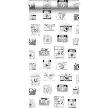 papier peint caméras Polaroid noir et blanc de ESTA home