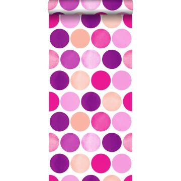 papier peint gros points rose bonbon de ESTA home