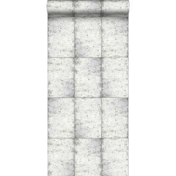 papier peint feuilles de zinc gris chaud clair de ESTA home