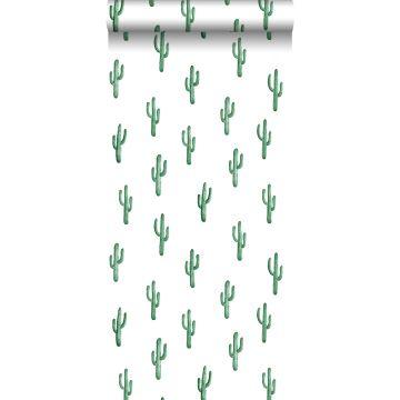papier peint petit cactus du désert vert émeraude intense de ESTA home