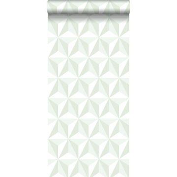 papier peint graphique 3D vert menthe de ESTA home