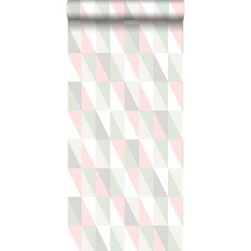 papier peint triangles graphiques rose clair et vert menthe de ESTA home