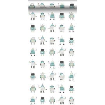 papier peint robots jouets vintage vert menthe et bleu de ESTA home