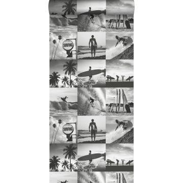 papier peint photos de surfeurs gris foncé de ESTA home