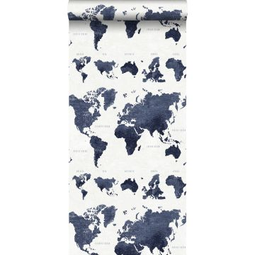 papier peint cartes du monde bleu foncé de ESTA home