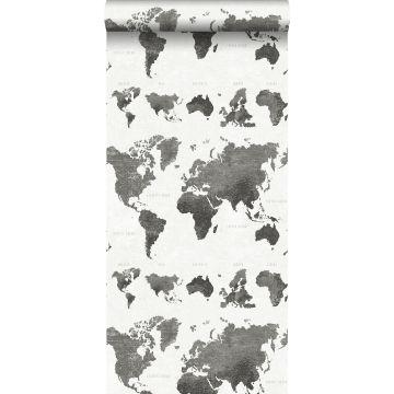 papier peint cartes du monde gris foncé de ESTA home