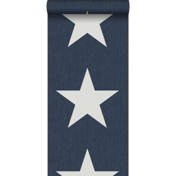 papier peint étoiles sur le tissu de jeans en denim bleu foncé de ESTA home