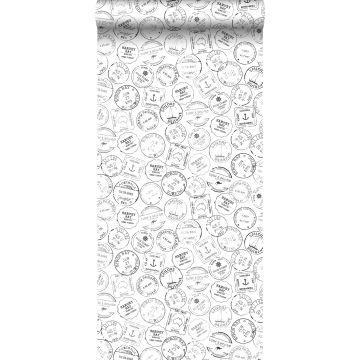 papier peint timbres de surf noir et blanc de ESTA home