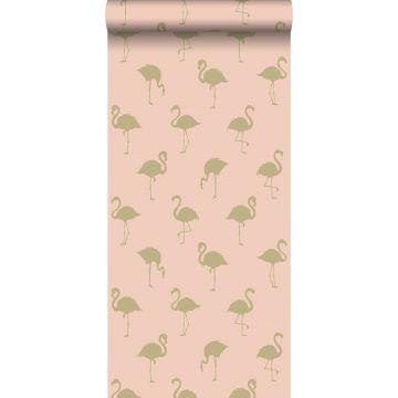papier peint flamants or et rose pêche de ESTA home