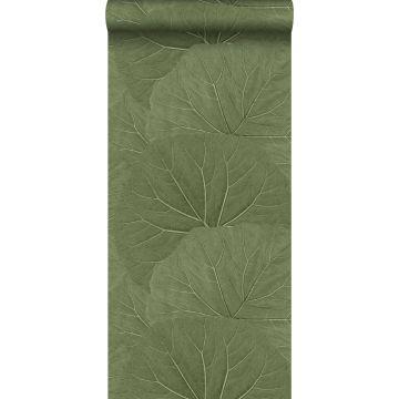 papier peint grandes feuilles vert olive grisé de ESTA home