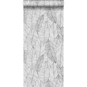 papier peint feuilles dessinées noir et blanc de ESTA home