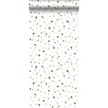 papier peint imitation terrazzo blanc, rose clair et vert menthe de ESTA home