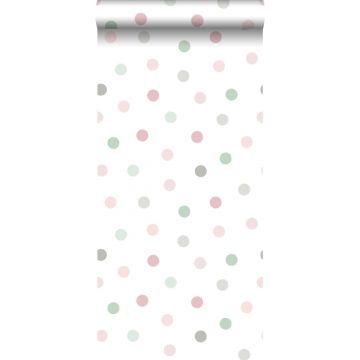 papier peint à motif de petits points rose, vert et gris de ESTA home