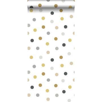 papier peint à motif de petits points or, gris et noir de ESTA home