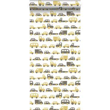 papier peint voitures jaune ocre et marron de ESTA home