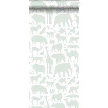 papier peint animaux vert menthe de ESTA home