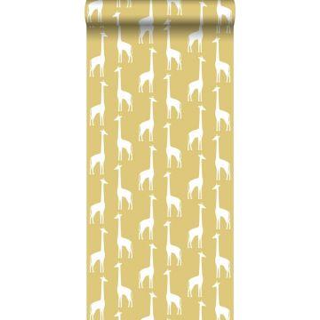 papier peint girafes jaune ocre de ESTA home