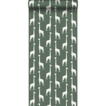 papier peint girafes vert foncé de ESTA home