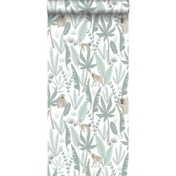papier peint singes de la jungle vert menthe de ESTA home